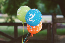 Colorful Balloons With Number 2 On Them