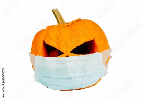 Foto halloween pumpkin with face mask