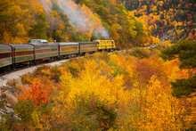 The Conway Scenic Railway Train On The Crawford Notch Route, Just West Of Bartlett, New Hampshire.  Hardwood Trees Are Showing Peak Fall Color In The White Mountain National Forest.
