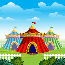 Three Circus Tents In A Lawn W...