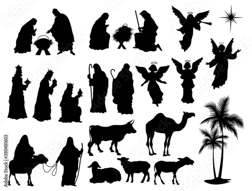 set nativity scene silhouettes collection traditional christian figures holy ni Canvas