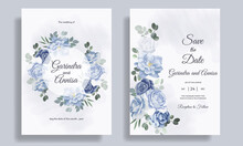 Romantic  Wedding Invitation Card Template Set With  Blue  Floral Leaves Premium Vector