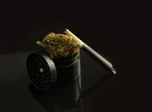 Cannabis Bud On Black Backgrou...