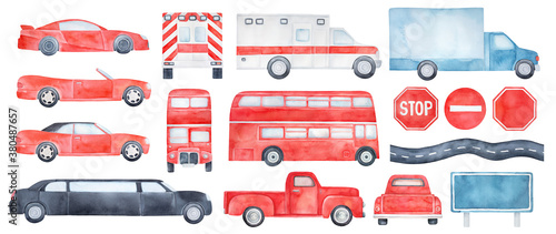 Big pack of different colorful cars, transport types and road signs: bus, delivery truck, ambulance vehicle, cabriolet, sedan, sports, limo, classic pickup Fototapet
