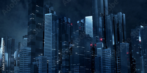Fototapeta 3D Rendering of futuristic virtual sci fi city. Many high sky scrapper building towers.  Concept for night life, business vision, technology product background obraz