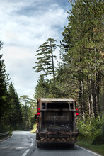 Garbage Truck Driving On A Road Trough The Evergreen Forest