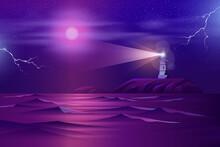 Lonely Lighthouse On Rocky Cli...
