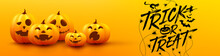 Halloween Trick Or Treat Poster And Banner Template With Cute Halloween Pumpkin On Yellow Background. Website Spooky,Background Or Banner Halloween Template.Vector Illustration EPS10