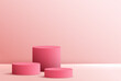 Cosmetic background for product, branding and packaging presentation. geometry form circle molding on podium stage pink background. vector design.