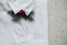 White Shirt With A Christmas Bow Tie