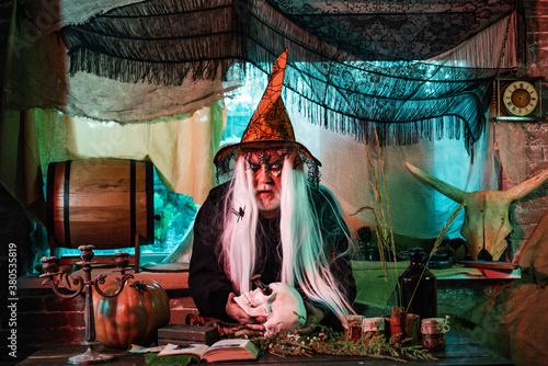 Devil man with skull on Halloween night Fototapet