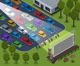 Isometric Cinema Outdoor Composition