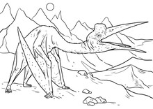 Prehistoric Pterosaur - Quetzalcoatlus. Flying Reptiles From Jurassic Period. Coloring Book Template.