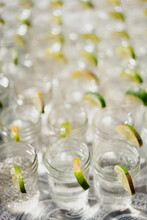 Mason Jar Glasses Of Water With Lime