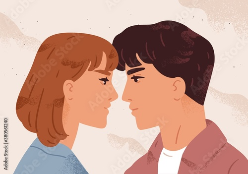 Fotografia Man and woman looking to each other feeling love vector flat illustration