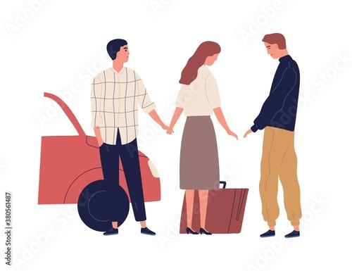 Betrayed husband saying goodbye wife going to another man vector flat illustration Fototapeta