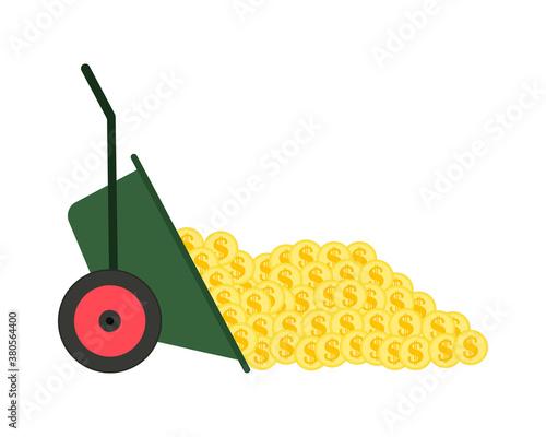 Fotografie, Tablou A pile of gold dollar coins are thrown out of a garden wheelbarrow