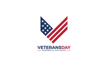 Letter V Logo Formed USA Flag And Rank Of Soldiers As A Symbol Of Veterans
