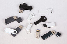 Batch Of Multiple Usb Key Flash Drive Black And Grey For Template And Mock Up