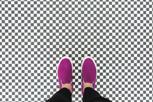 Hot Pink Sneakers On Checkerboard Tile