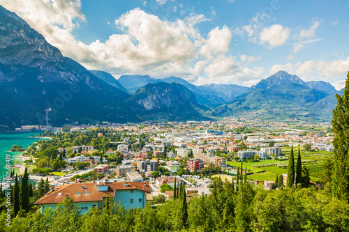 Aerial view at the popular touristic landmark Riva del Garda village at lake Garda, Italy Wallpaper Mural