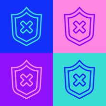 Pop Art Line Shield With Cross...