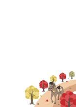 秋の乗馬のイメージ2 A4縦 コピースペース