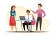 Business meeting brainstorming. Team of people working at office vector illustration. Corporate communication. Men and women sitting and standing, negotiating, discussing presentation
