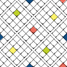 Vector Waffle Fabric Effect Seamless Pattern Background. Diagonal Bauhaus Style Grid Backdrop With Offset Red, Blue, Yellow Color Squares. Hand Drawn Illustration. Modern Art Geometric All Over Print