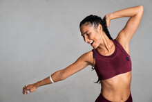 Carefree Fit Woman Dancing On ...