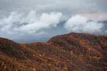 Blue Ridge Mountains With Fall Foliage And Clouds