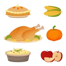 Set Of Thanksgiving Food Turkey, Mashed Potatoes, Apples, Pumpkin, Corn And Pie. Collection Of Objects Isolated On White Background.