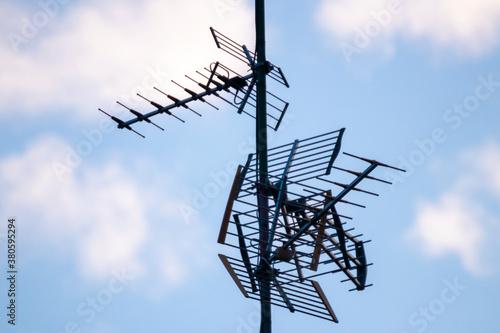 Fototapeta antenna over a blue sky