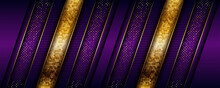Abstract Geometric Luxury Purple Overlap Layers Background With Golden Combination