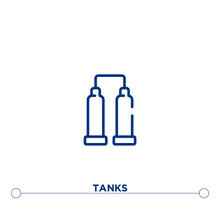 Tanks Outline Vector Icon. Simple Element Illustration. Tanks Outline Icon From Editable Industry Concept. Can Be Used For Web And Mobile