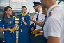 Cheerful Stewardesses Talking ...