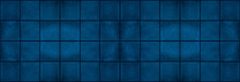 Seamless Dark Grunge Blue Square Mosaic Concrete Cement Stone Wall Tiles Pattern Texture Wide Background Banner
