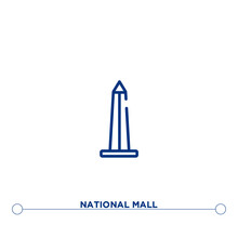 National Mall Outline Vector Icon. Simple Element Illustration. National Mall Outline Icon From Editable Monuments Concept. Can Be Used For Web And Mobile