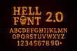 canvas print picture - Hell Font 2.0 set. Fire flames on black isolated background, realistick fire effect with sparks. Part of alphabet set