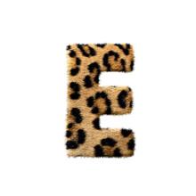 """""""E"""" Uppercase Leopard Fur Texture Letter On White"""