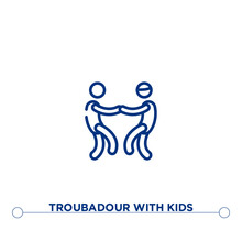 Troubadour With Kids Outline Vector Icon. Simple Element Illustration. Troubadour With Kids Outline Icon From Editable Music Concept. Can Be Used For Web And Mobile