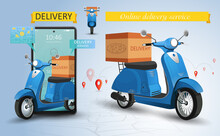 Fast Delivery By Scooter Service. Shopping Website On A Mobile. Online Food Order Concept. Web Banner, App Template. Vector Illustration