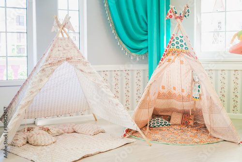 Children's wigwam in the nursery, home decor Canvas
