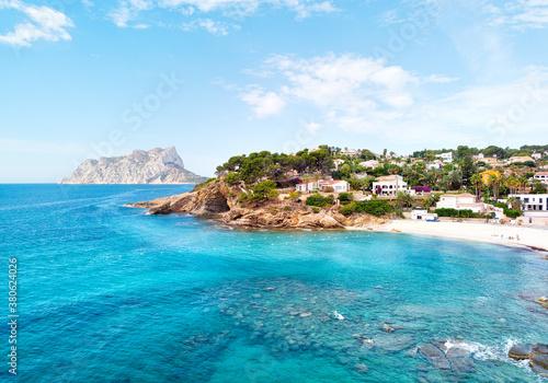 Obraz na plátně Turquoise bay of Mediterranean Sea of Benissa spanish resort town