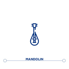Mandolin Outline Vector Icon. Simple Element Illustration. Mandolin Outline Icon From Editable Music And Media Concept. Can Be Used For Web And Mobile