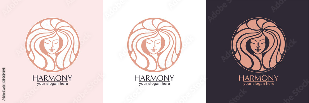 Fototapeta Female face logo. Emblem for a beauty or yoga salon. Style of harmony and beauty. Vector illustration