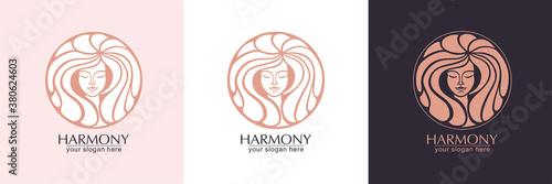 Obraz Female face logo. Emblem for a beauty or yoga salon. Style of harmony and beauty. Vector illustration - fototapety do salonu