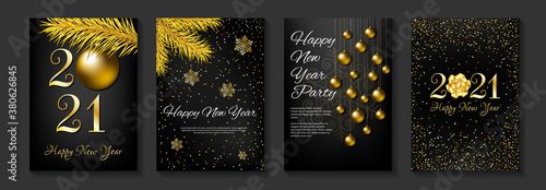 Fototapeta Set of banners for Happy New Year 2021. Gold and black colors. Fir branches, christmas balls, snowflakes and 2021 numbers. A4 vector illustration for invitation, greeting card, cover. obraz
