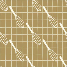 Stylized Kitchen Seamless Pattern With Beige Corolla Silhouettes. Mixing Tools Artqork With Brown Chequered Background.