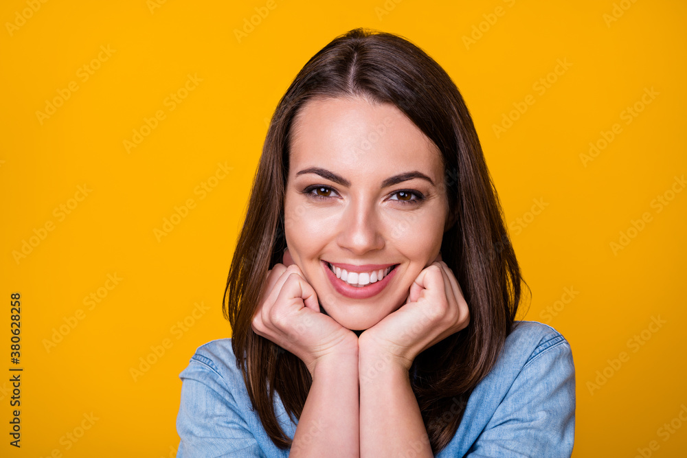 Fototapeta Closeup photo of attractive cheerful funny lady good mood beaming smile touch arms fists cheeks optimistic person wear casual denim shirt isolated vivid yellow color background